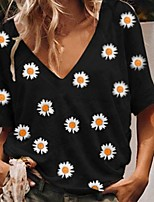 cheap -Women's T-shirt Floral Daisy Tops V Neck Daily Summer Black Blue Yellow S M L XL 2XL 3XL 4XL
