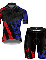 cheap -21Grams Men's Short Sleeve Cycling Jersey with Shorts Polyester Black / Blue American / USA National Flag Bike Clothing Suit Breathable Quick Dry Ultraviolet Resistant Reflective Strips Sweat-wicking