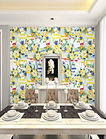 cheap -Custom self-adhesive mural wallpaper yellow flowers suitable for bedroom living room wall decoration Art Deco Home Decoration Modern Wall Covering Canvas Material
