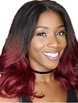 cheap -Synthetic Wig Curly Middle Part Wig Long Burgundy Synthetic Hair 12 inch Women's Ombre Hair Middle Part curling Burgundy