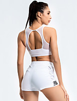 cheap -Women's 2pcs Tracksuit Yoga Suit Solid Color White Black Grey Running Fitness Gym Workout High Waist Shorts Bra Top Sport Activewear Breathable Tummy Control Butt Lift Moisture Wicking Stretchy Slim
