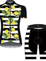 Недорогие -21Grams Жен. С короткими рукавами Велокофты и велошорты Черный / желтый Фрукты Велоспорт Дышащий Быстровысыхающий Виды спорта С узором Горные велосипеды Шоссейные велосипеды Одежда / Слабоэластичная