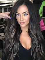 cheap -Synthetic Wig Curly Middle Part Wig Very Long Black / Brown Synthetic Hair 26 inch Women's Ombre Hair curling Fluffy Ombre