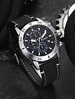 cheap -Men's Sport Watch Japanese Quartz Genuine Leather 30 m Water Resistant / Waterproof Day Date Analog Fashion Cool - Black / Silver Black+Gloden Black One Year Battery Life