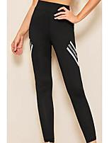 cheap -Women's Basic Legging - Color Block, Print Mid Waist Black S M L