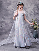 cheap -Princess Elsa Dress Flower Girl Dress Girls' Movie Cosplay A-Line Slip White Dress Children's Day Masquerade Tulle Polyester Sequin
