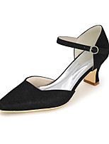 cheap -Women's Wedding Shoes Spring / Summer Block Heel Square Toe Minimalism Wedding Party & Evening Solid Colored Synthetics Black / Red / Gold
