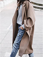 cheap -Women's Fall Winter Coat Daily Going out Casual Regular Solid Colored Khaki S / M / L