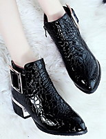 cheap -Women's Boots Fall / Winter Wedge Heel Pointed Toe Daily PU Mid-Calf Boots Black