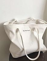 cheap -Women's Zipper Canvas Top Handle Bag Canvas Bag Solid Color White / Black