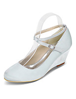 cheap -Women's Wedding Shoes 2020 Spring / Summer Wedge Heel Round Toe Sweet Minimalism Wedding Party & Evening Solid Colored Satin White / Black / Purple