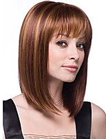 cheap -Synthetic Wig kinky Straight With Bangs Wig Short Light Brown Synthetic Hair 12 inch Women's Simple Life Women Brown