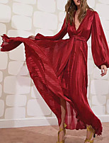 cheap -Sheath / Column Empire Red Holiday Prom Dress V Neck Long Sleeve Floor Length Nylon with Sash / Ribbon 2020