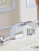 cheap -Bathroom Sink Faucet - Widespread / Waterfall Chrome Deck Mounted Two Handles Three HolesBath Taps