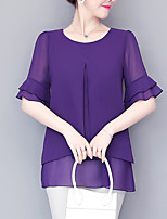 cheap -Women's Work Plus Size Blouse Shirt Solid Colored Ruffle Round Neck Tops Chiffon Business Basic Basic Top Black Purple Wine