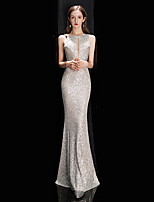 cheap -Mermaid / Trumpet Sexy Sparkle Engagement Prom Dress Jewel Neck Sleeveless Floor Length Sequined with Sequin 2020