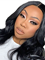 cheap -Human Hair Lace Front Wig Free Part style Brazilian Hair Wavy Body Wave Black Wig 130% Density with Baby Hair Natural Hairline For Black Women 100% Virgin 100% Hand Tied Women's Long Human Hair Lace