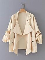 Недорогие -Жен. Повседневные Обычная Пальто, Однотонный Приподнятый круглый Длинный рукав Полиэстер Хаки