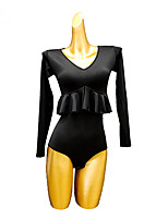 cheap -Latin Dance Leotard / Onesie Ruffles Split Joint Women's Performance Long Sleeve Ice Silk