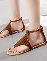 cheap -Women's Sandals Flat Sandal Summer Flat Heel Open Toe Daily PU Black / Brown / Gray