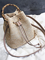 cheap -Women's Zipper Straw Top Handle Bag Straw Bag Solid Color Khaki