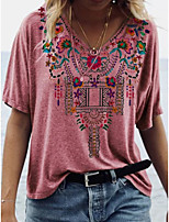 cheap -Women's Graphic T-shirt Daily V Neck Blue / Purple / Yellow / Blushing Pink / Green / Gray