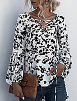 cheap -Women's Geometric Blouse Daily Going out V Neck White