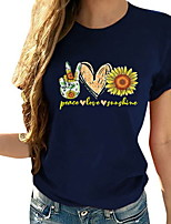 cheap -Women's Floral Graphic Sun Flower T-shirt Daily Wine / Black / Red / Navy Blue / Gray