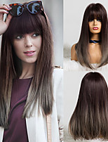 cheap -Synthetic Wig Matte Natural Straight Neat Bang Wig Long Flaxen Synthetic Hair 18 inch Women's Simple Soft Waterfall Gray