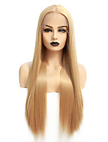 cheap -Synthetic Lace Front Wig Straight Gaga Middle Part Lace Front Wig Blonde Long Blonde Synthetic Hair 22-26 inch Women's Heat Resistant Women Hot Sale Blonde / Glueless