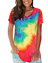 cheap -Women's Color Block Tie Dye T-shirt Daily V Neck White / Blue / Red / Navy Blue / Rainbow