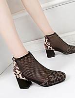 cheap -Women's Boots Summer Chunky Heel Square Toe Daily Mesh Booties / Ankle Boots Black / Brown