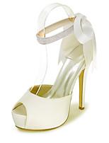 cheap -Women's Wedding Shoes Spring / Summer Stiletto Heel Peep Toe Minimalism Wedding Party & Evening Sparkling Glitter / Ribbon Tie Solid Colored Satin White / Black / Purple