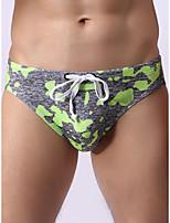 cheap -Men's Print Briefs Underwear - Normal Mid Waist Blushing Pink Orange Green S M L