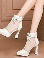 cheap -Women's Boots Spring & Summer Chunky Heel Pointed Toe Daily PU Mid-Calf Boots Black / Beige
