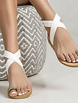cheap -Women's Sandals Summer Flat Heel Open Toe Daily PU White / Black