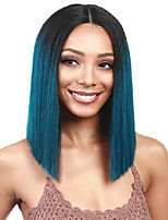 cheap -Synthetic Wig Matte kinky Straight Middle Part Wig Medium Length Azure Synthetic Hair 65 inch Women's Highlighted / Balayage Hair Dark Roots Middle Part Black Blue