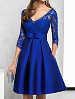 cheap -A-Line Floral Blue Engagement Prom Dress Illusion Neck V Neck 3/4 Length Sleeve Knee Length Lace Satin with Sash / Ribbon Pleats Embroidery 2020