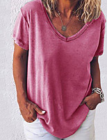 cheap -Women's Solid Colored Loose T-shirt - Cotton Daily V Neck White / Black / Blue / Blushing Pink / Army Green / Gray