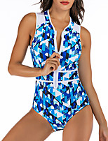 cheap -Women's One Piece Swimsuit Swimwear Breathable Quick Dry Sleeveless Front Zip - Swimming Surfing Water Sports 3D Print Summer / Stretchy