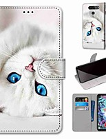 cheap -Case For LG Q70 / LG K50S / LG K40S Wallet / Card Holder / with Stand Full Body Cases White Cat PU Leather / TPU for LG K30 2019 / LG K20 2019