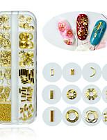 Недорогие -1 коробка 3d ногтей из легкого металла золото мини стальные бусины заклепки рама смешанной формы украшения для ногтей маникюр украшения