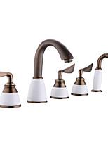 cheap -Bathtub Faucet - Contemporary Antique Copper Tub And Shower Ceramic Valve Bath Shower Mixer Taps