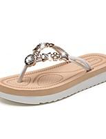 cheap -Women's Slippers & Flip-Flops Summer Flat Heel Open Toe Daily PU Black / Red / Beige