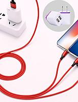 Недорогие -1.2m 3 в 1 нейлоновый универсальный кабель для зарядки мобильного телефона для Apple Android Type-C Plug