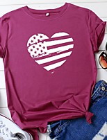 cheap -Women's National Flag American flag T-shirt Daily Wine / White / Black / Yellow / Blushing Pink / Army Green / Green / Light gray