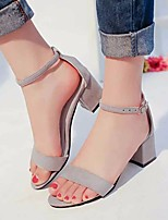 cheap -Women's Sandals Summer Chunky Heel Round Toe Daily PU Black / Pink / Beige