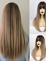 cheap -Synthetic Wig Matte Natural Straight Modern Contemporary Neat Bang Wig Long Light Brown Synthetic Hair 22 inch Women's Natural Hairline Waterfall Brown