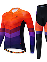 cheap -Miloto Women's Long Sleeve Cycling Jersey with Tights Black / Orange Bike Breathable Sports Patterned Mountain Bike MTB Road Bike Cycling Clothing Apparel / Stretchy