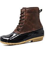 cheap -Women's Boots Summer Flat Heel Round Toe Casual Daily PU Black / Brown / Beige